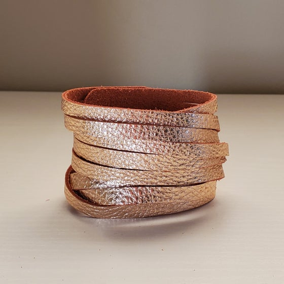 Image of rose gold leather wrap bracelet