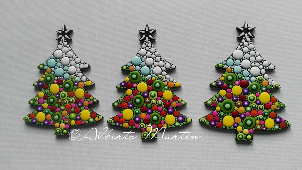Image of (Number 21). New Christmas tree ornaments - Dot art Christmas decor. Set of 3.