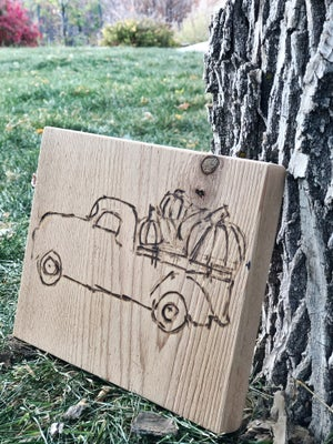 Image of Wood Burned Fall Sign: Truck with Pumpkins