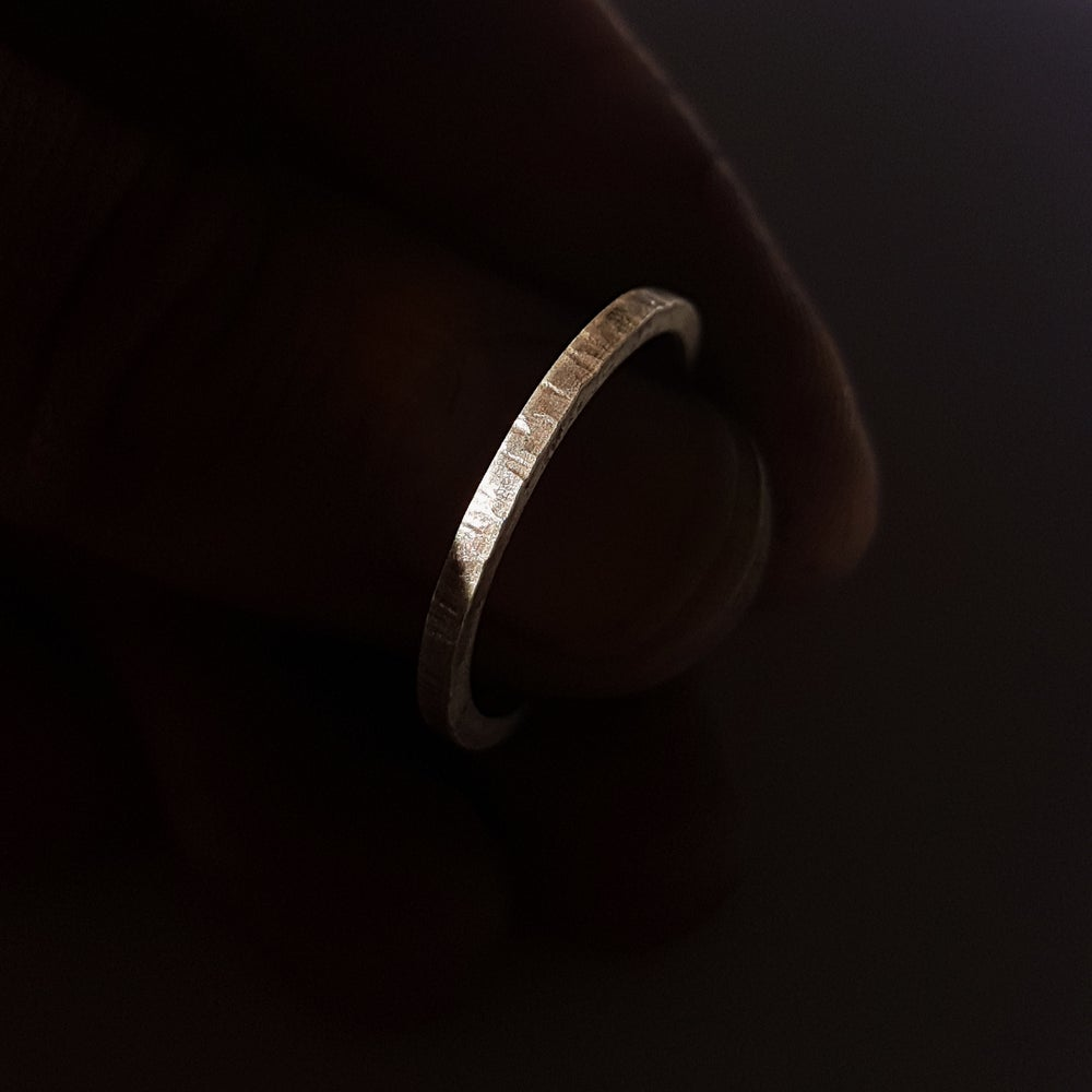Image of Line Textured Silver Ring