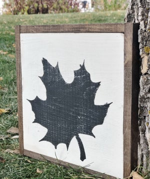 Image of Framed Fall Maple Leaf Wooden Sign