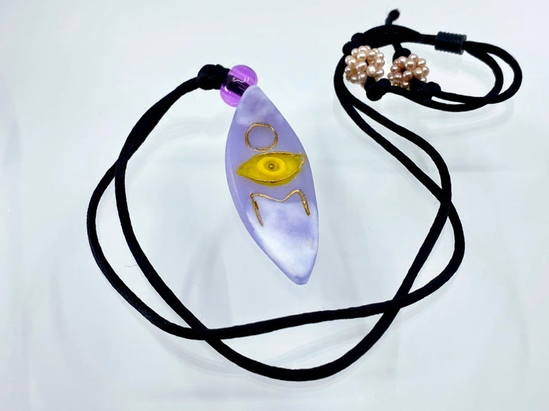 """Image of Pate de Verre Glass """"OM and the Third Eye"""" Lotus Petal Shaped Pendant in Lavender and Yellow"""