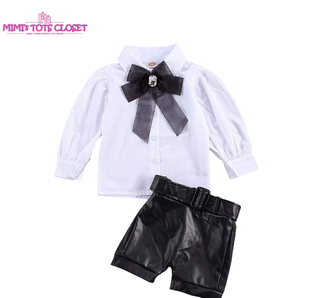 Image of Leather Shorts  2pc set