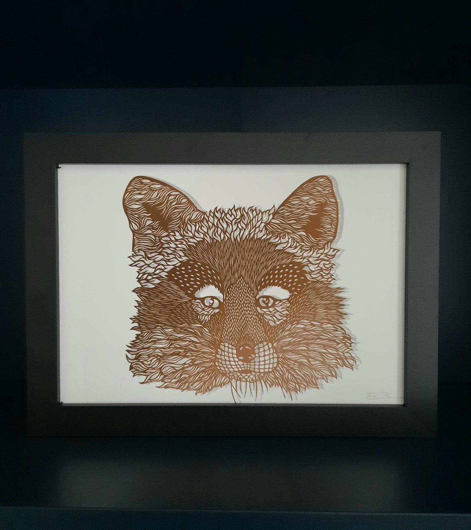 Image of A4 Giclée Print of Fox Paper Cutting