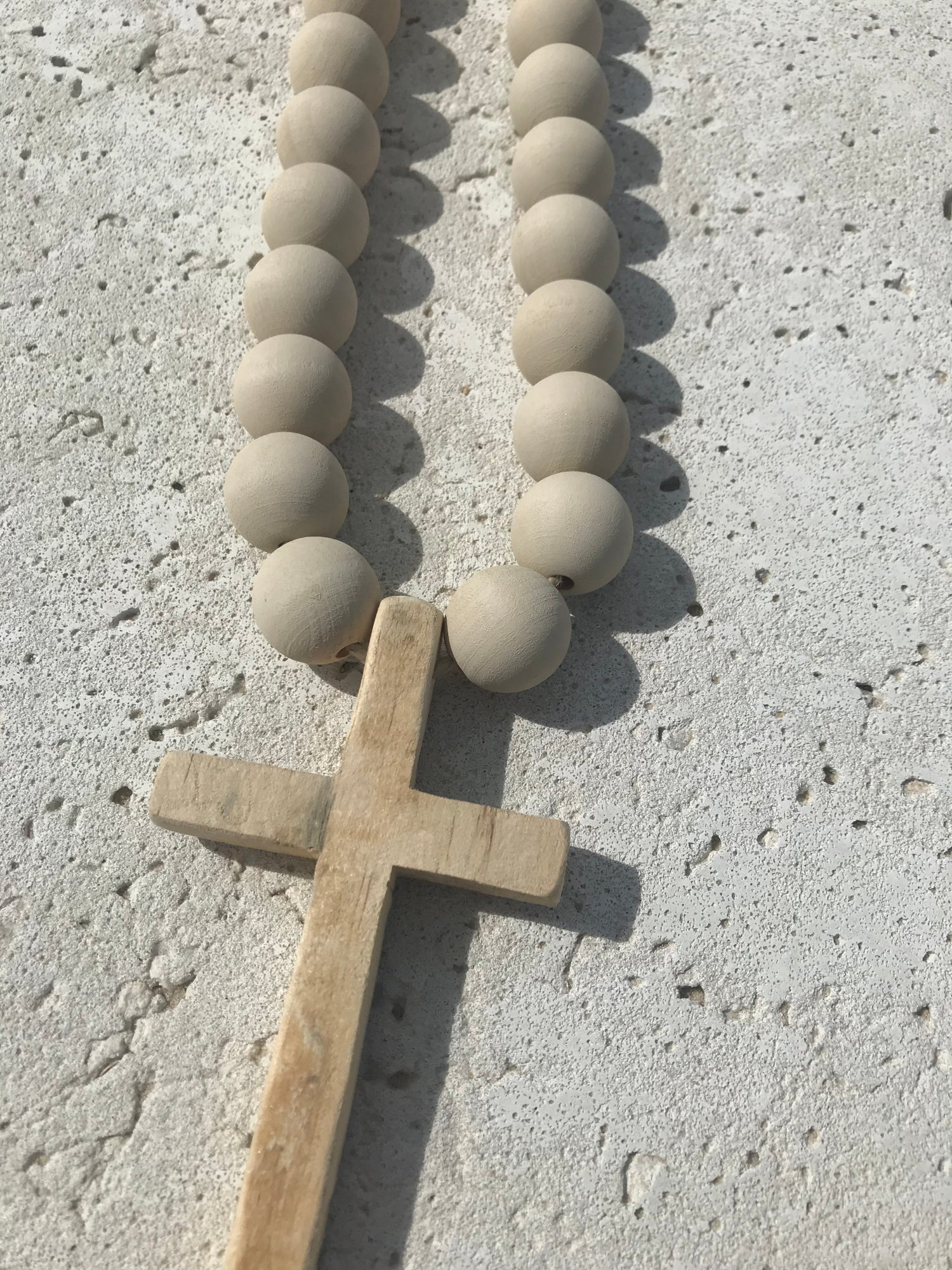 Image of 'Stone' Original Beads with Wooden Cross