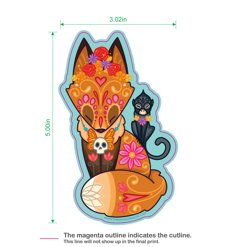 Image of Frida Fox and Friend - (Two Stickers)