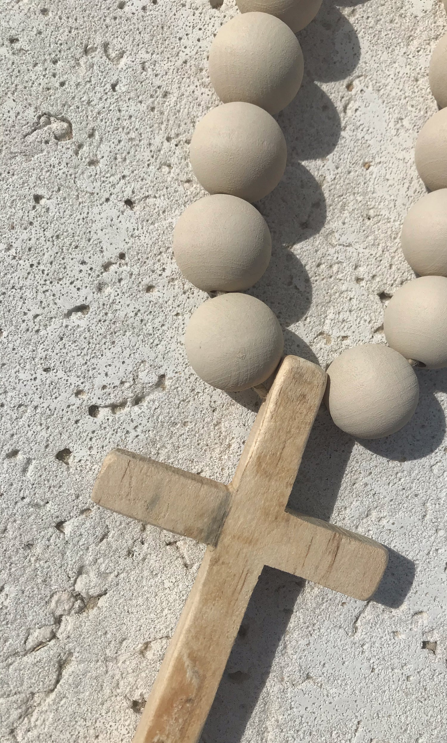 Image of Mini Beads in Stone with Wooden Cross