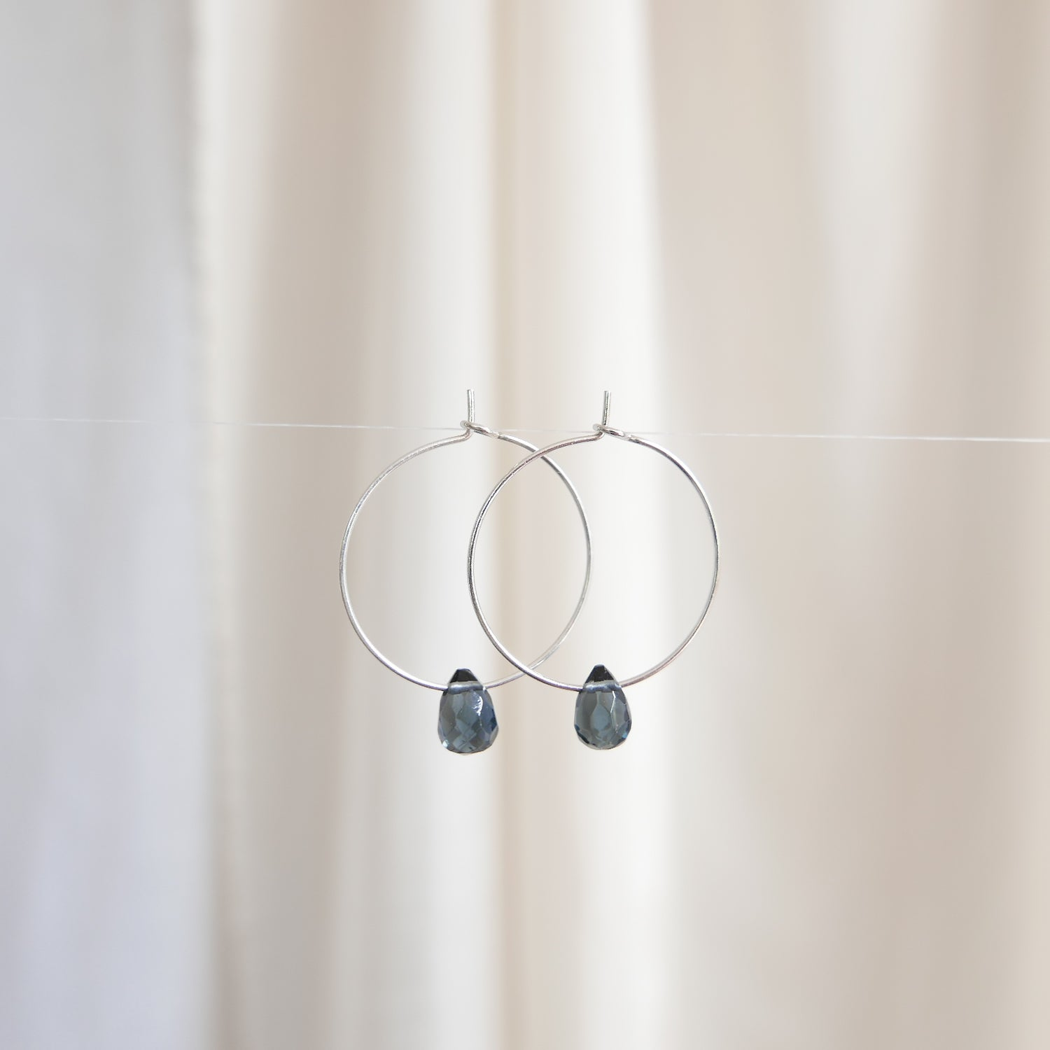 Image of Goodheart Hoops Agate Drops - Silver Plated