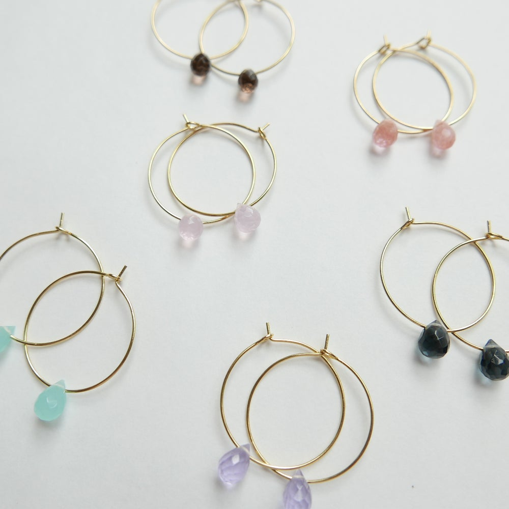 Image of Goodheart Hoops Agate Drops - Gold Plated