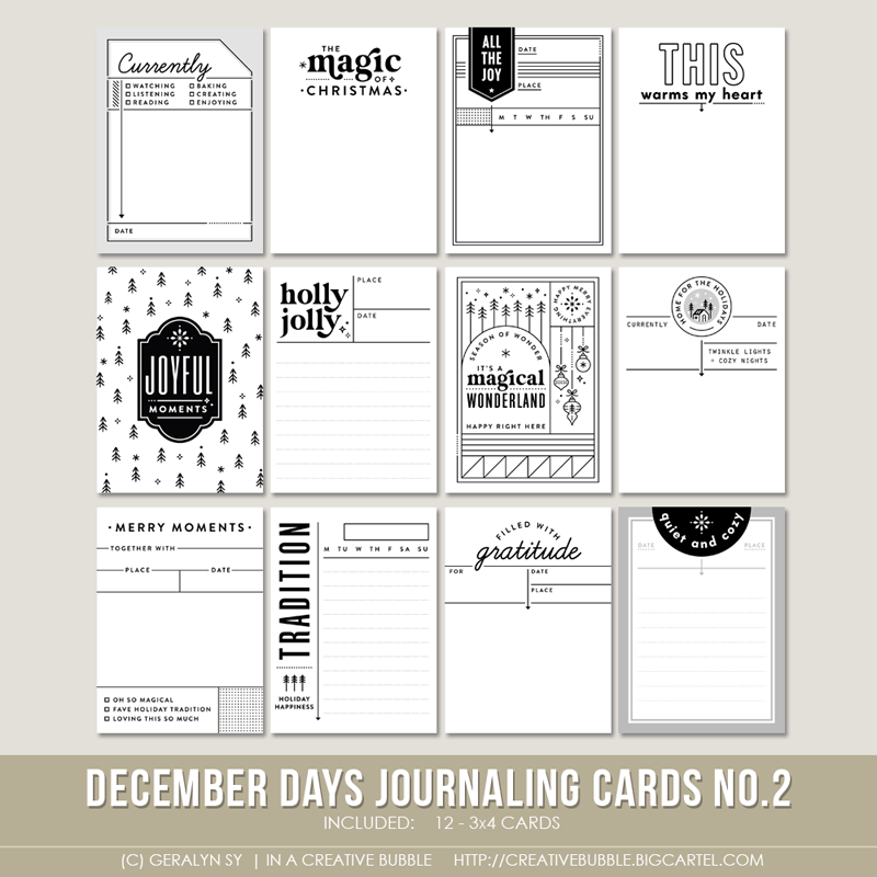 Image of December Days Journaling Cards No.2 (Digital)