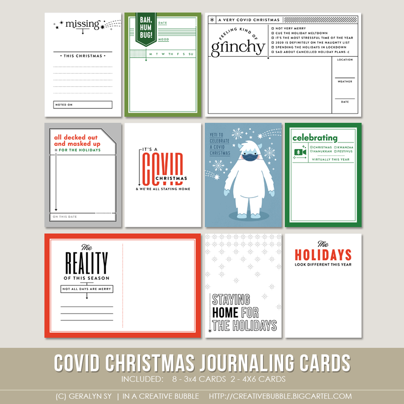 Image of Covid Christmas Journaling Cards (Digital)