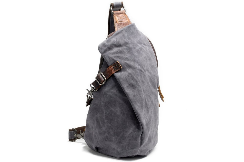 Image of Handcrafted Genuine Leather Canvas Chest Bag Sling Bag Chest Pack 82040