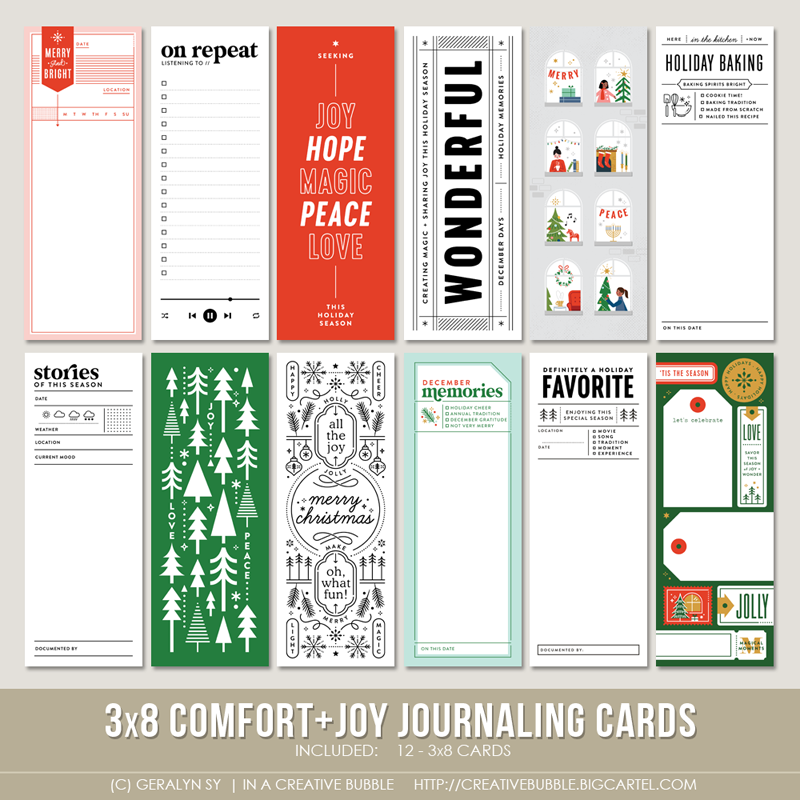 Image of 3x8 Comfort + Joy Journaling Cards (Digital)