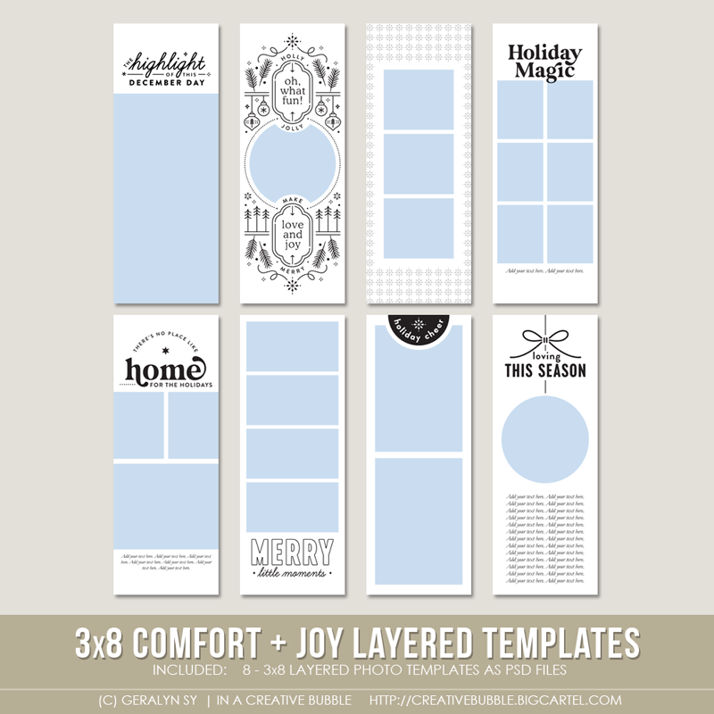 Image of  3x8 Comfort + Joy Layered Photo Templates (Digital)
