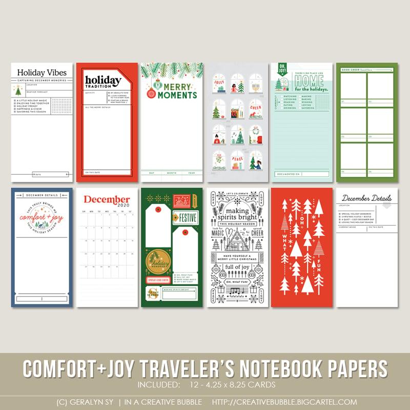 Image of Comfort + Joy Traveler's Notebook Papers (Digital)