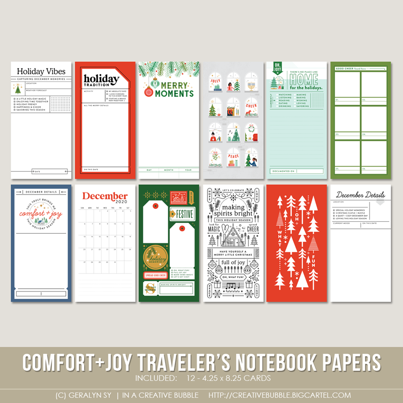 Image of Comfort + Joy Traveler's Notebook Papers (Digital)