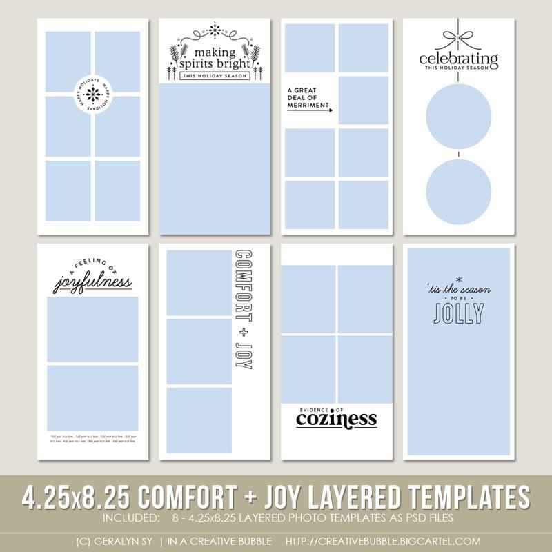 Image of 4.25x8.25 Comfort + Joy Layered Photo Templates (Digital)