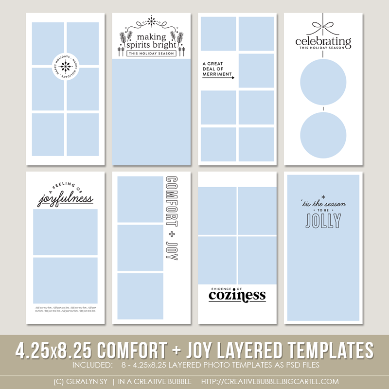 Image of 4.25x8.25 Comfort + Joy Layered Photo Templates (Digital)