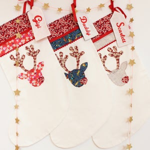 Image of Personalised Reindeer Embroidered Christmas Stocking