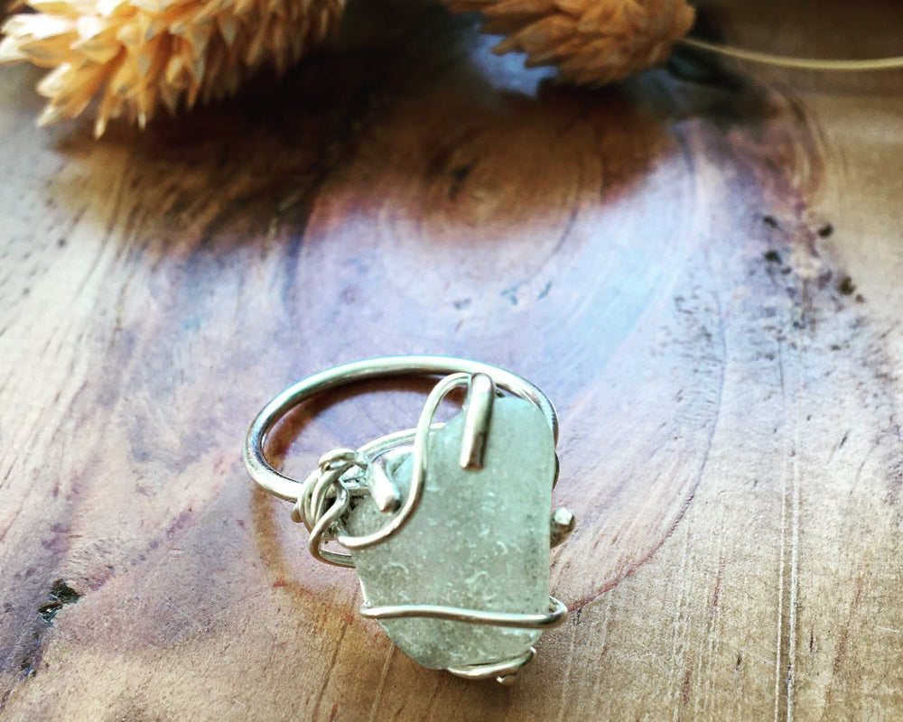 Image of White Sea Glass and Recycled Silver Wrapped Wire Ring