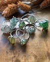 White Sea Glass and Recycled Silver Wrapped Wire Ring