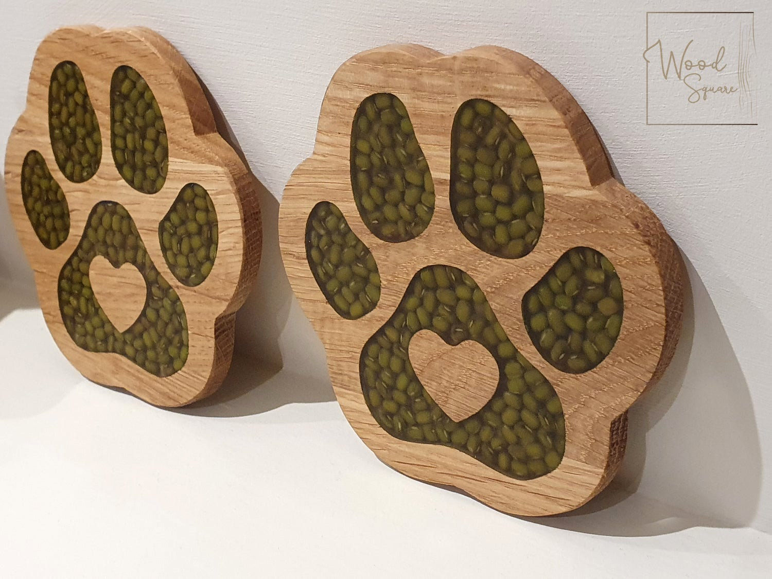 Image of Paw Print coasters with green lentils