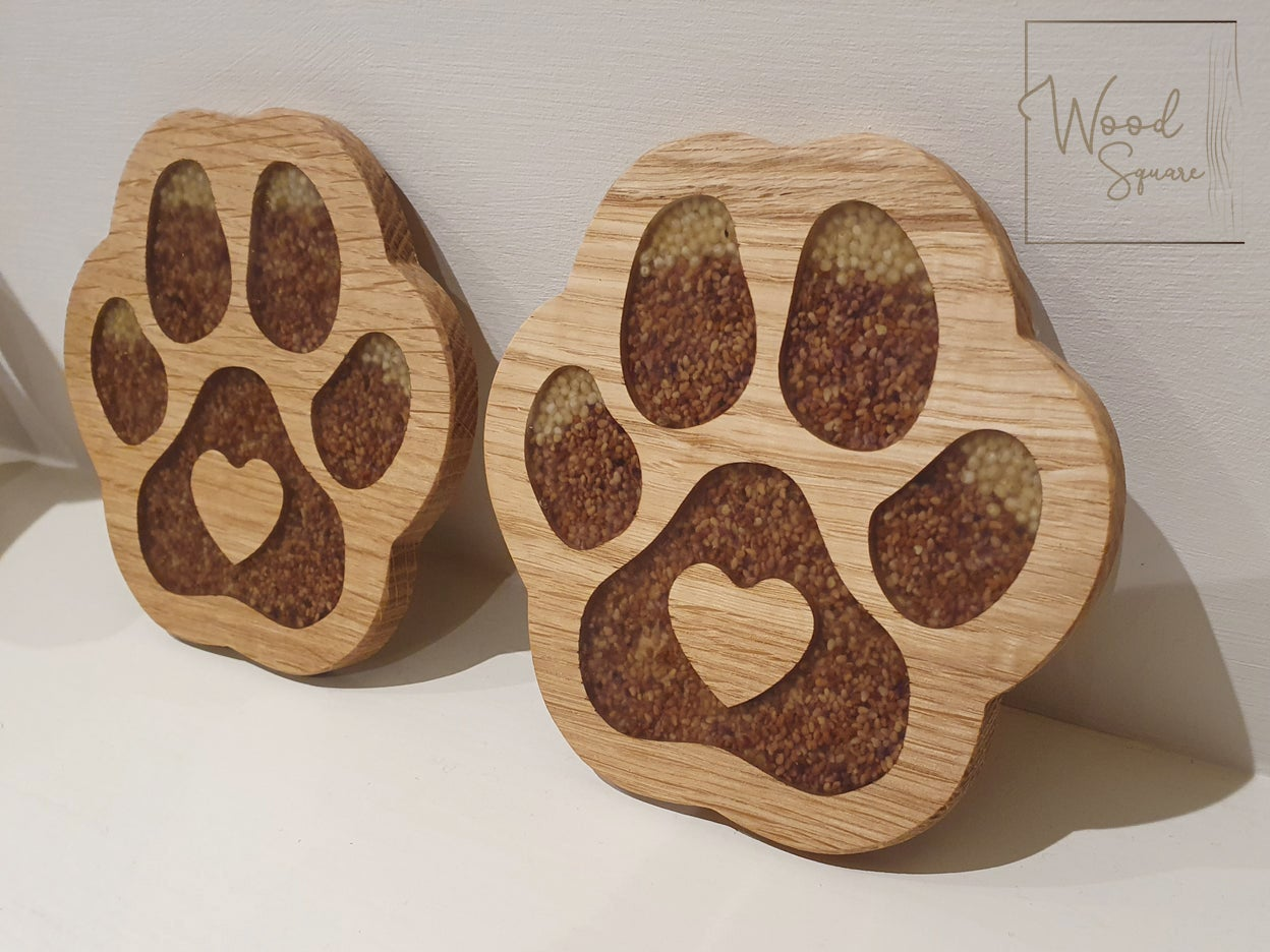 Image of Paw print coasters with with seeds