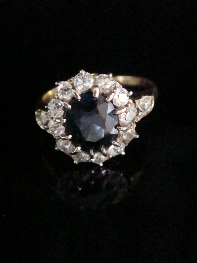 Image of Edwardian 18ct yellow gold natural sapphire 2ct and diamond 0.90ct cluster