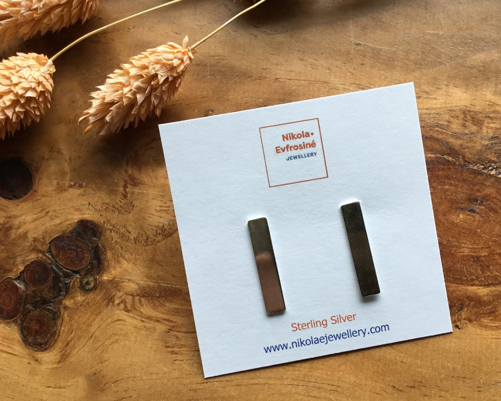 Image of Rectangular Recycled Silver Statement Earrings