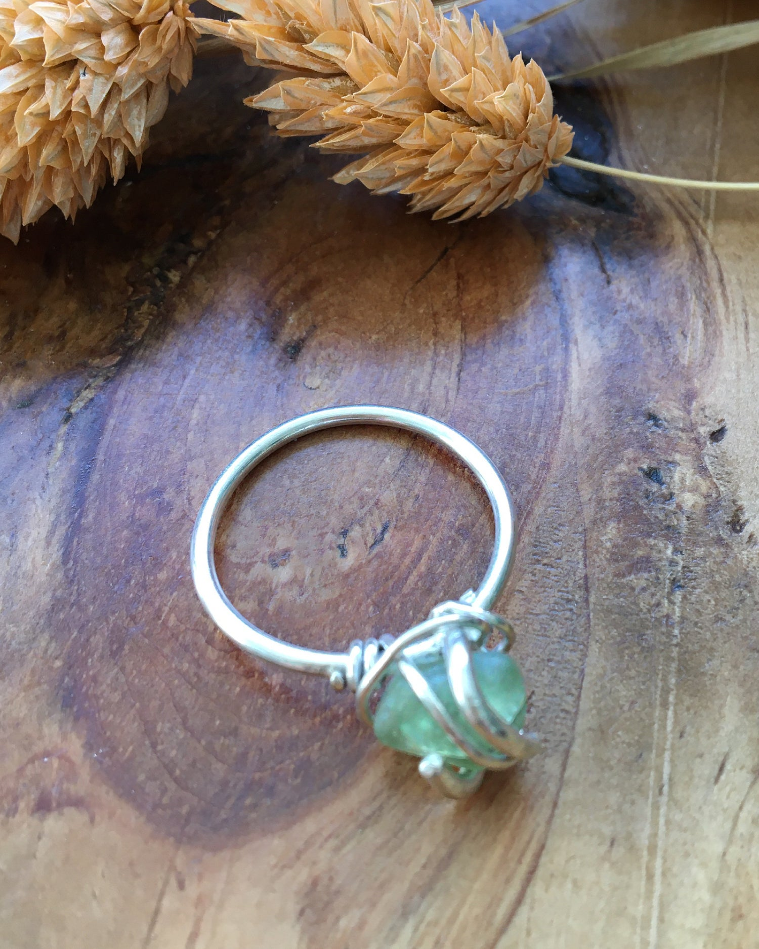 Image of Simple Green Sea Glass and Silver Ring