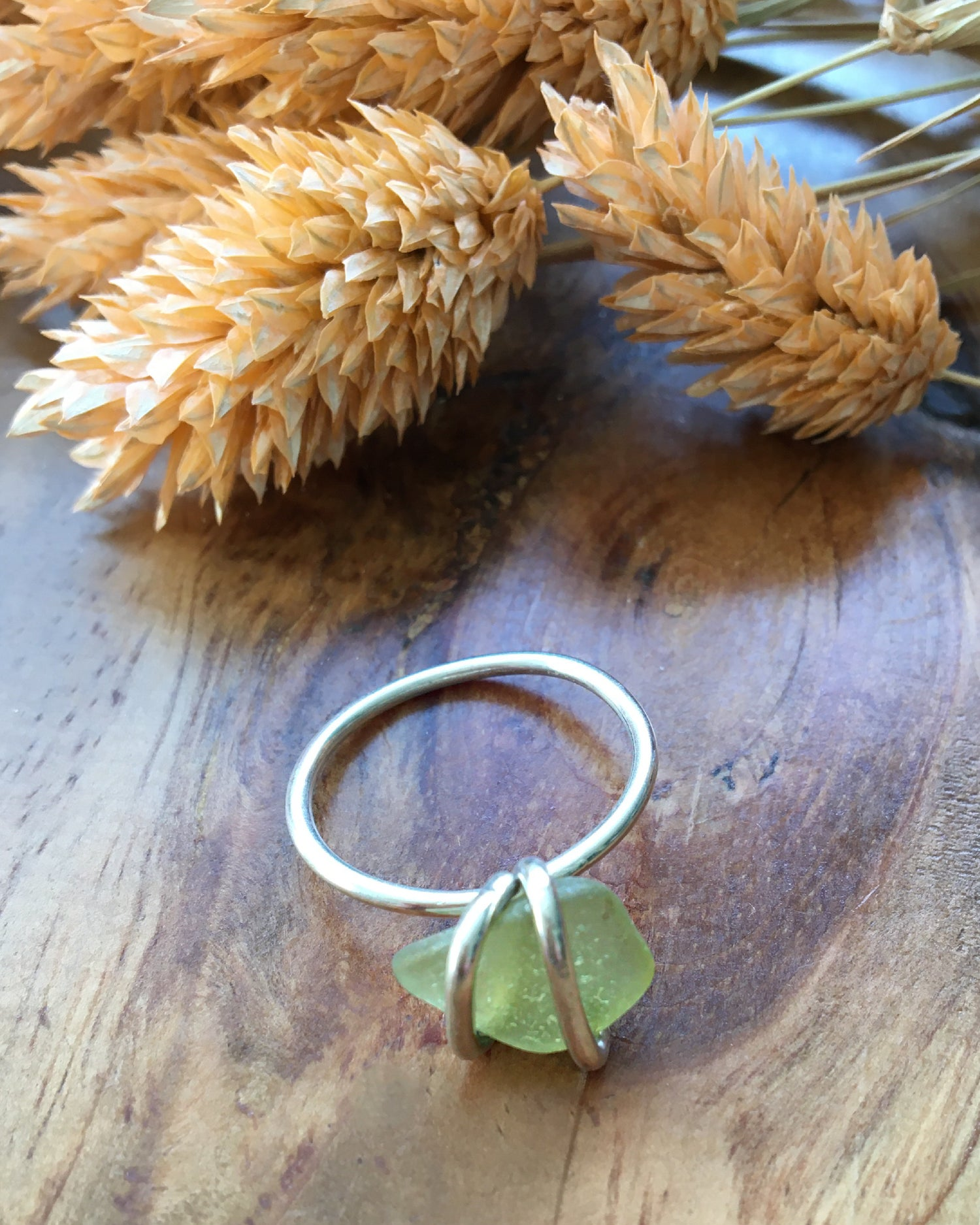Image of Gorgeous  Green Sea Glass and Recycled Silver Ring