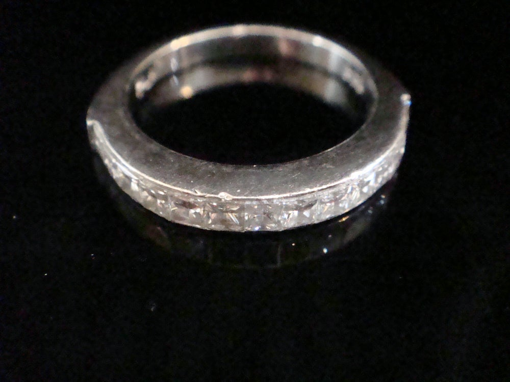 Image of Heavy platinum 4.5g princess cut diamond half eternity ring 0.70ct