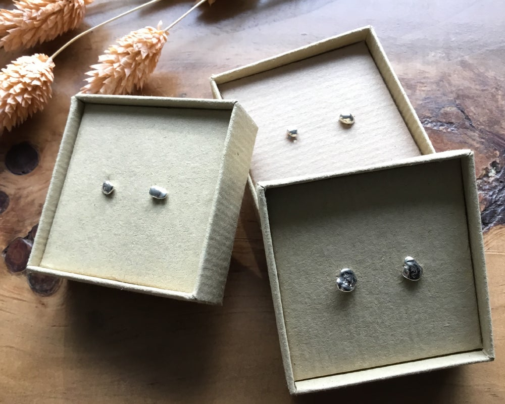 Image of Tiny Recycled Silver Water Cast Earrings