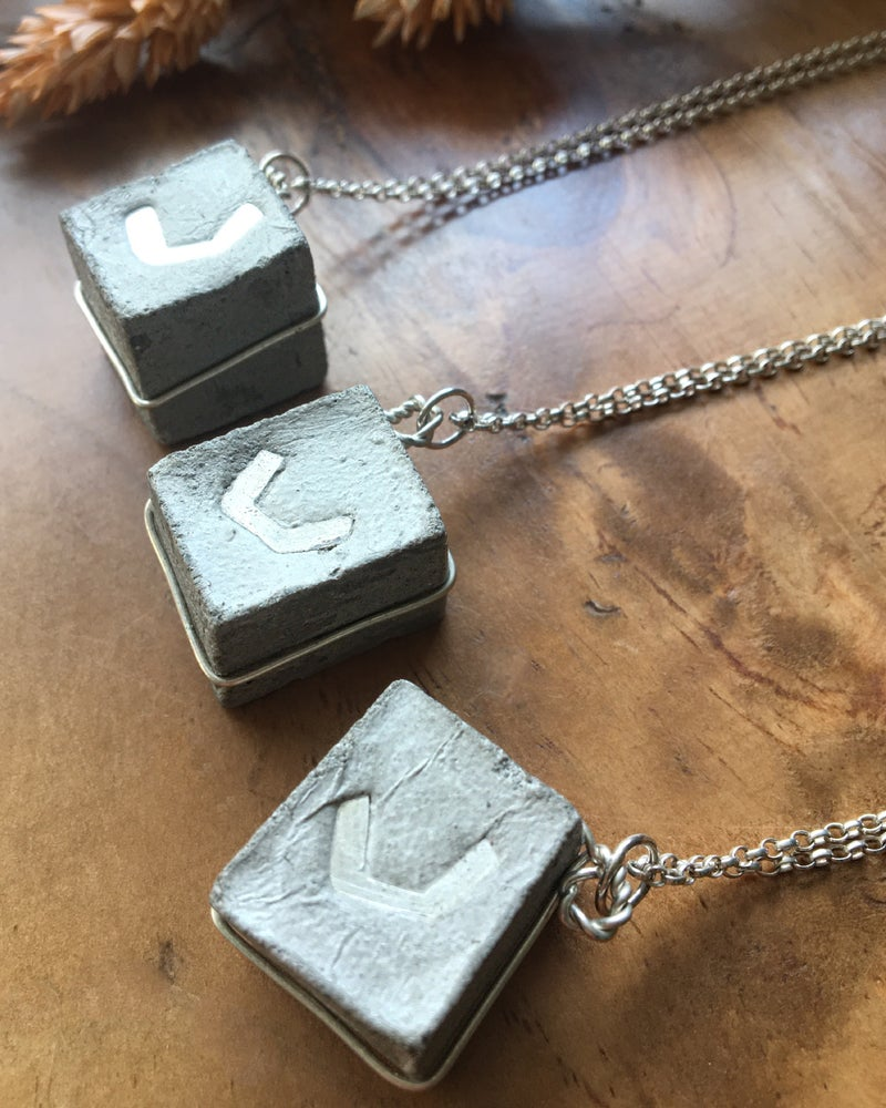 Image of Concrete and Silver Cube Pendant Necklace Based on Park Hill Flats