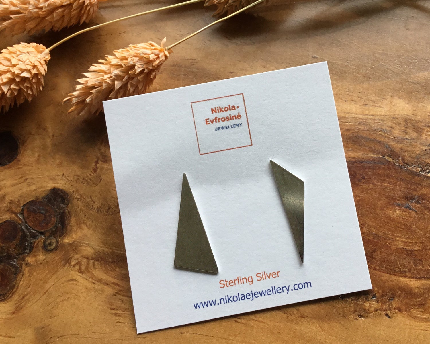 Image of Recycled Silver Asymmetric Triangular Earrings