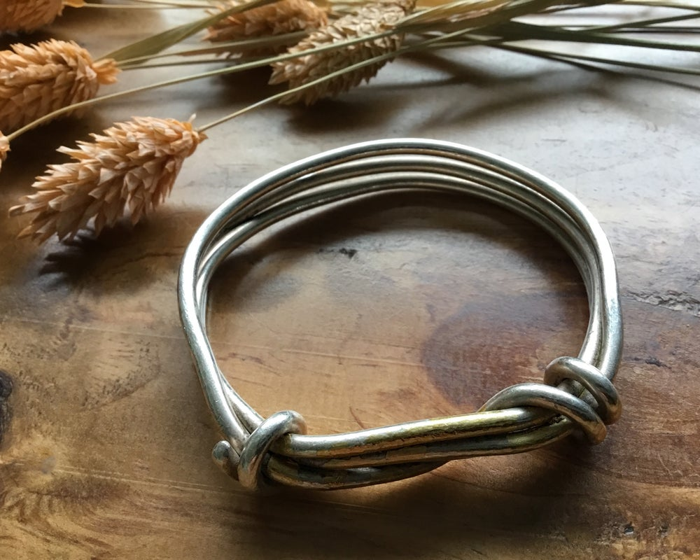 Image of Recycled Silver Chunky Rope Twist Bangle with Gold Leaf Keum Boo Detail