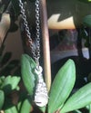 Delicate Silver Water Cast Droplet and Morganite Necklace