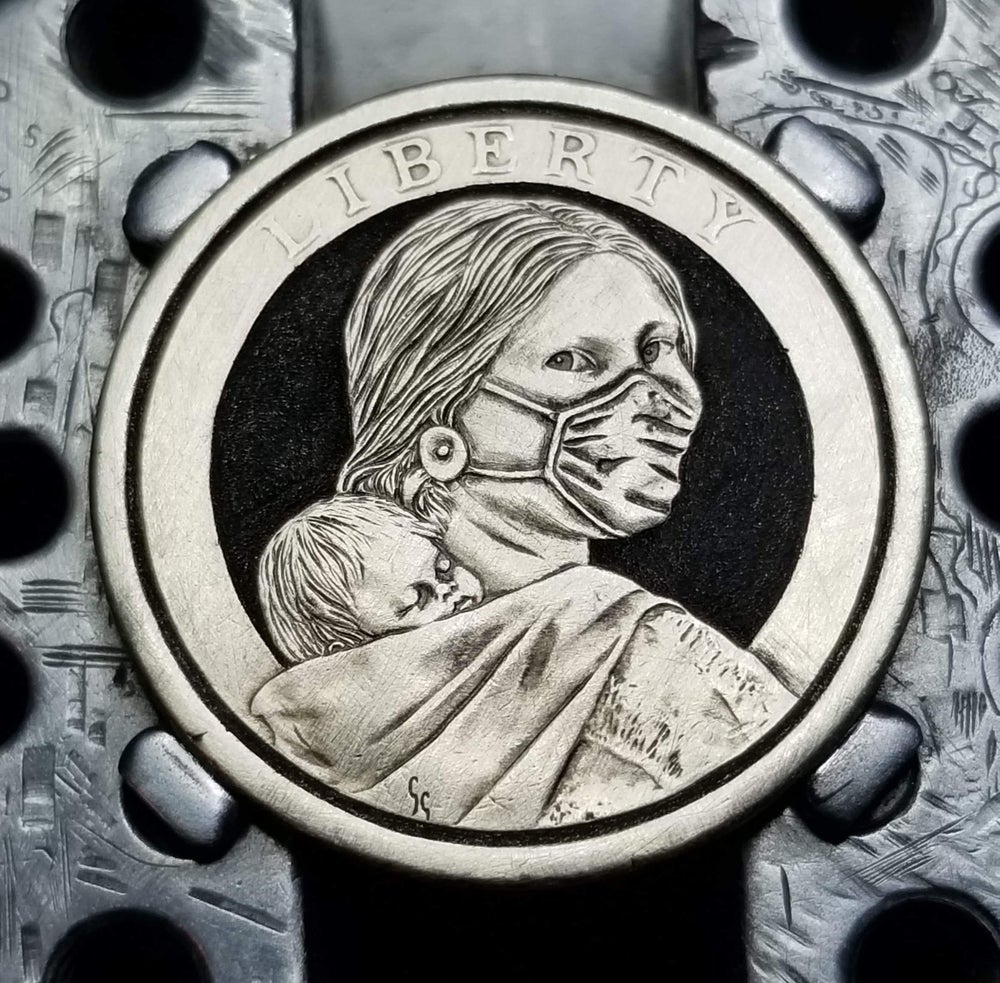 Image of Carved Masked Sacagawea dollar
