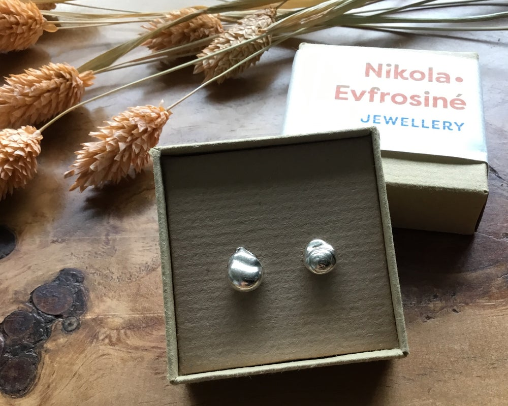 Image of Droplet Silver Water Cast Earring