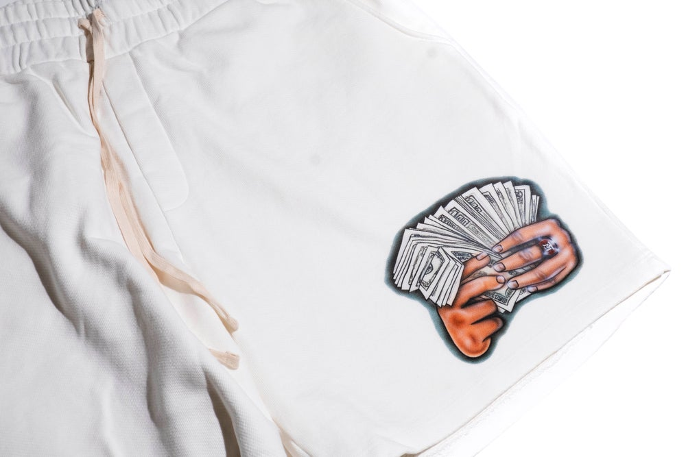 Image of Hands Full Shorts- White