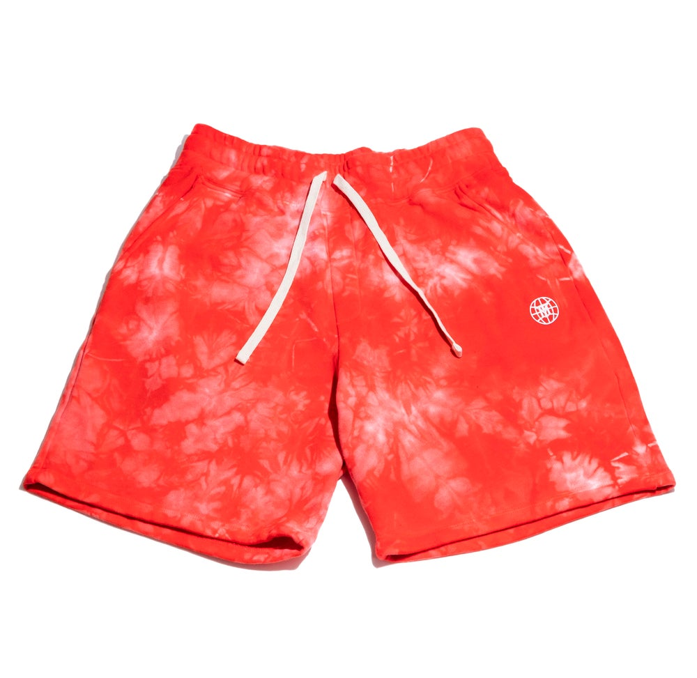 Image of Small Face Globe Shorts- Red