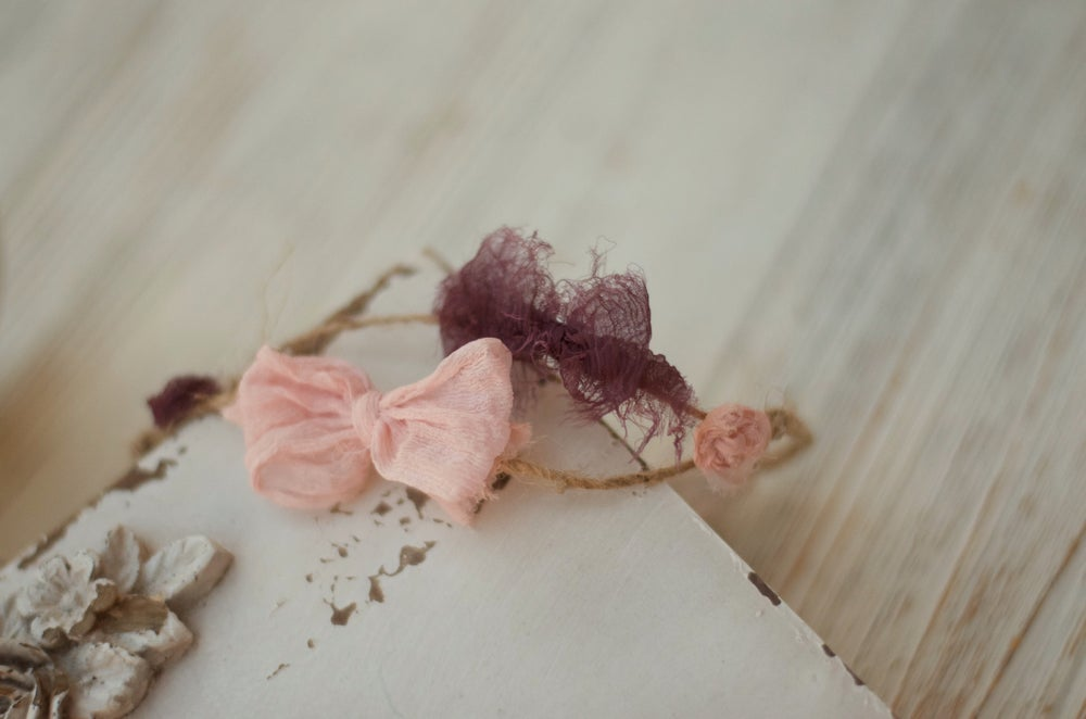 Image of Two bows and flowers headband