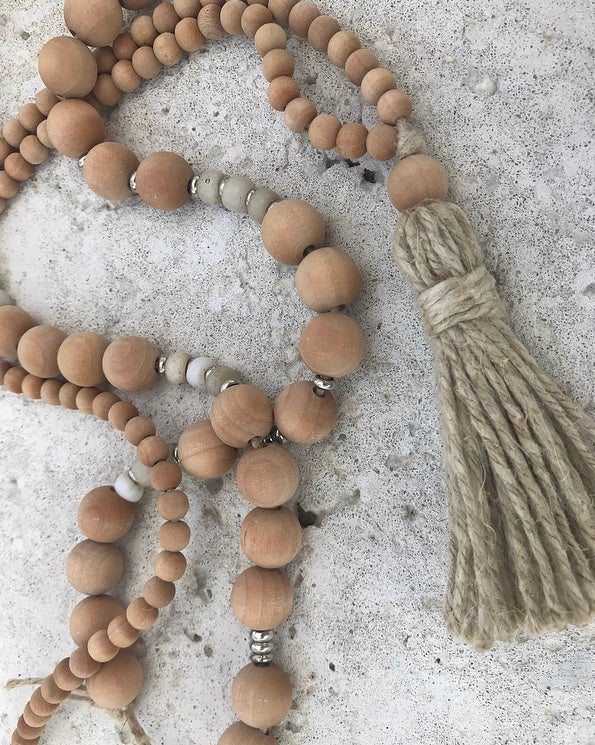 Image of Hemp Tassel Necklace - 'Dried Palm'