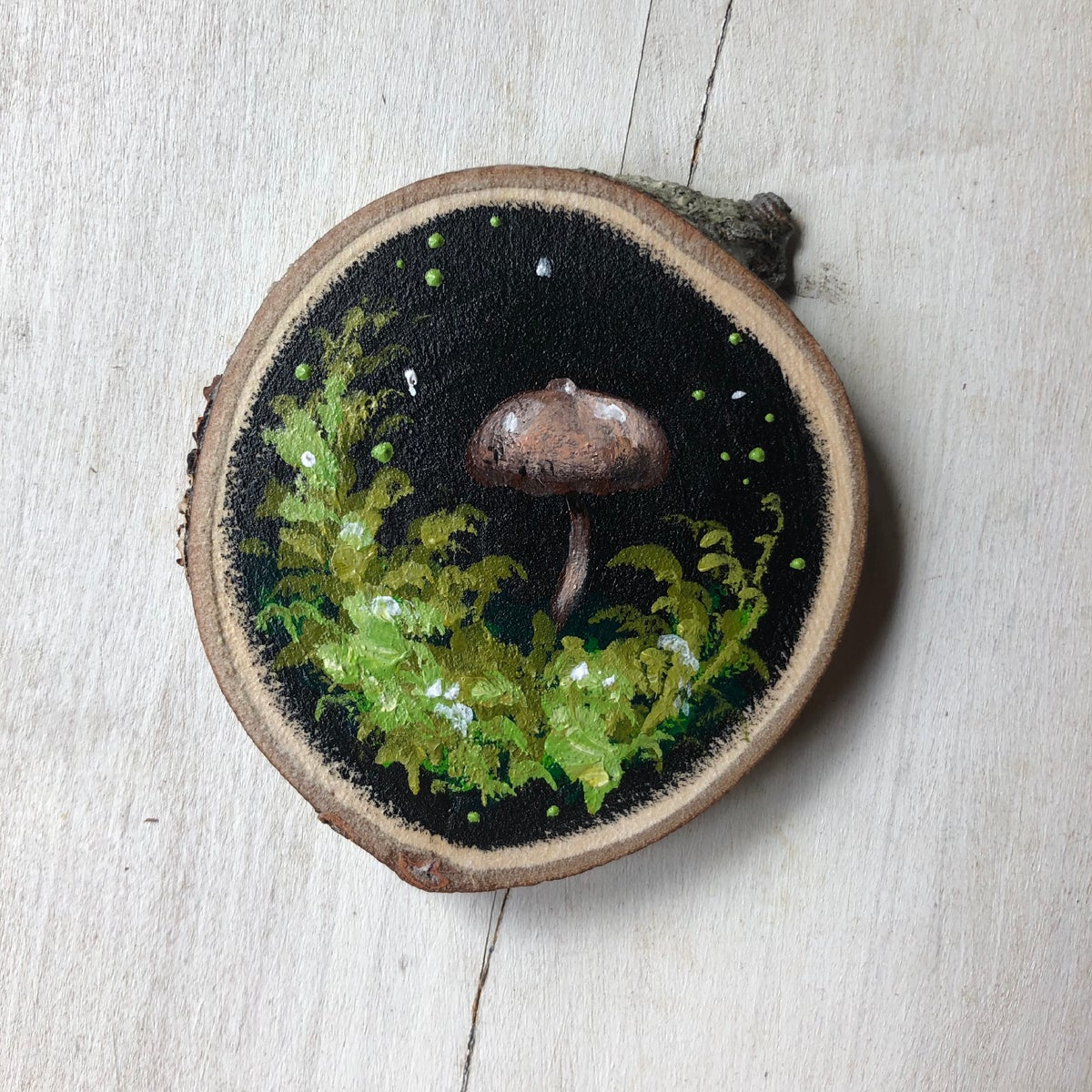 Psilocybe semilanceata | Original Wood Slice Painting
