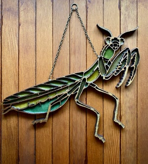 Image of Praying Mantis Faux Stained Glass