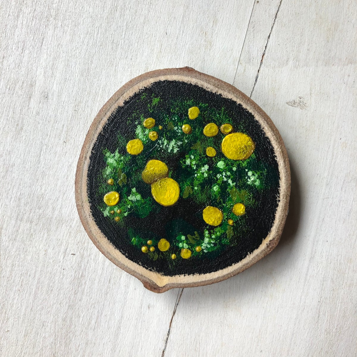 Lemon Drops | Original Wood Slice Painting