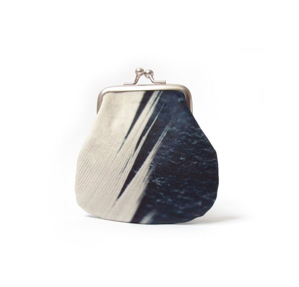 Image of Feather stripe, velvet kisslock coin purse