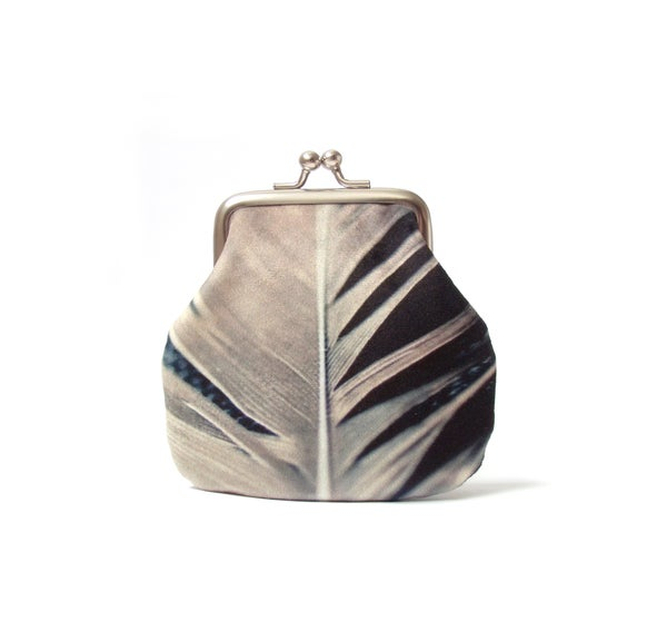Image of Feather, velvet kisslock coin purse