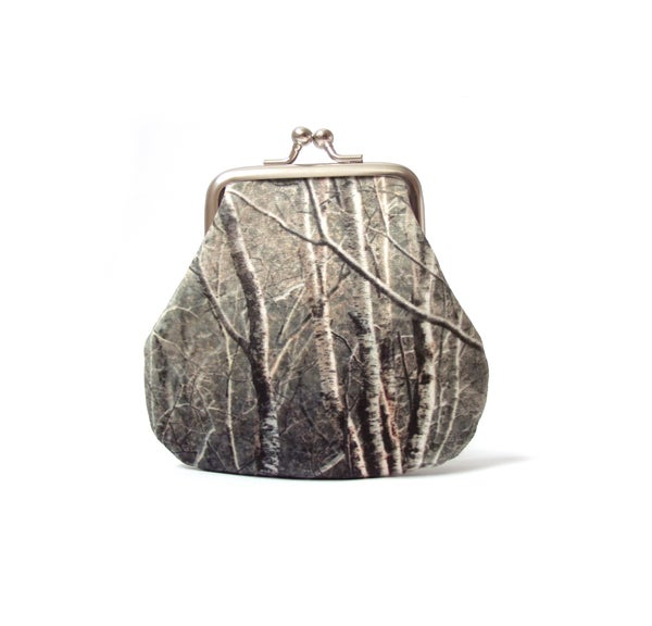 Image of Silver birch trees, velvet kisslock coin purse