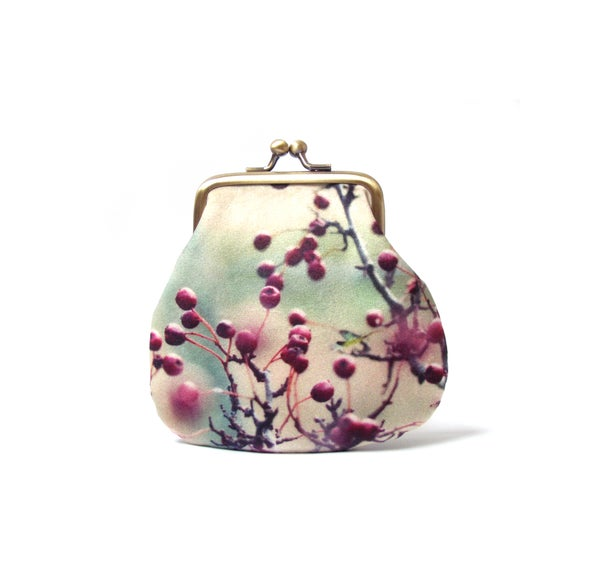 Image of Hawthorn berries, velvet kisslock coin purse